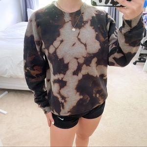 Acid/bleach wash black crew neck sweatshirt